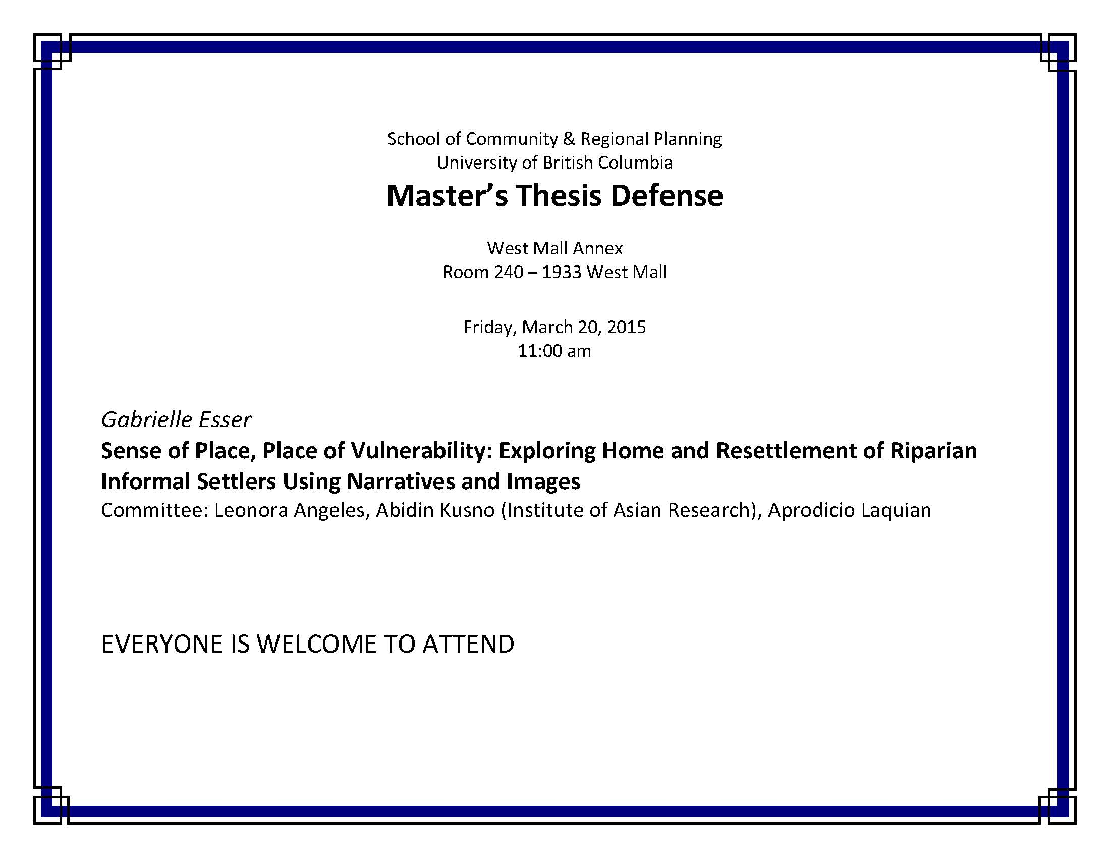 Thesis masters defense