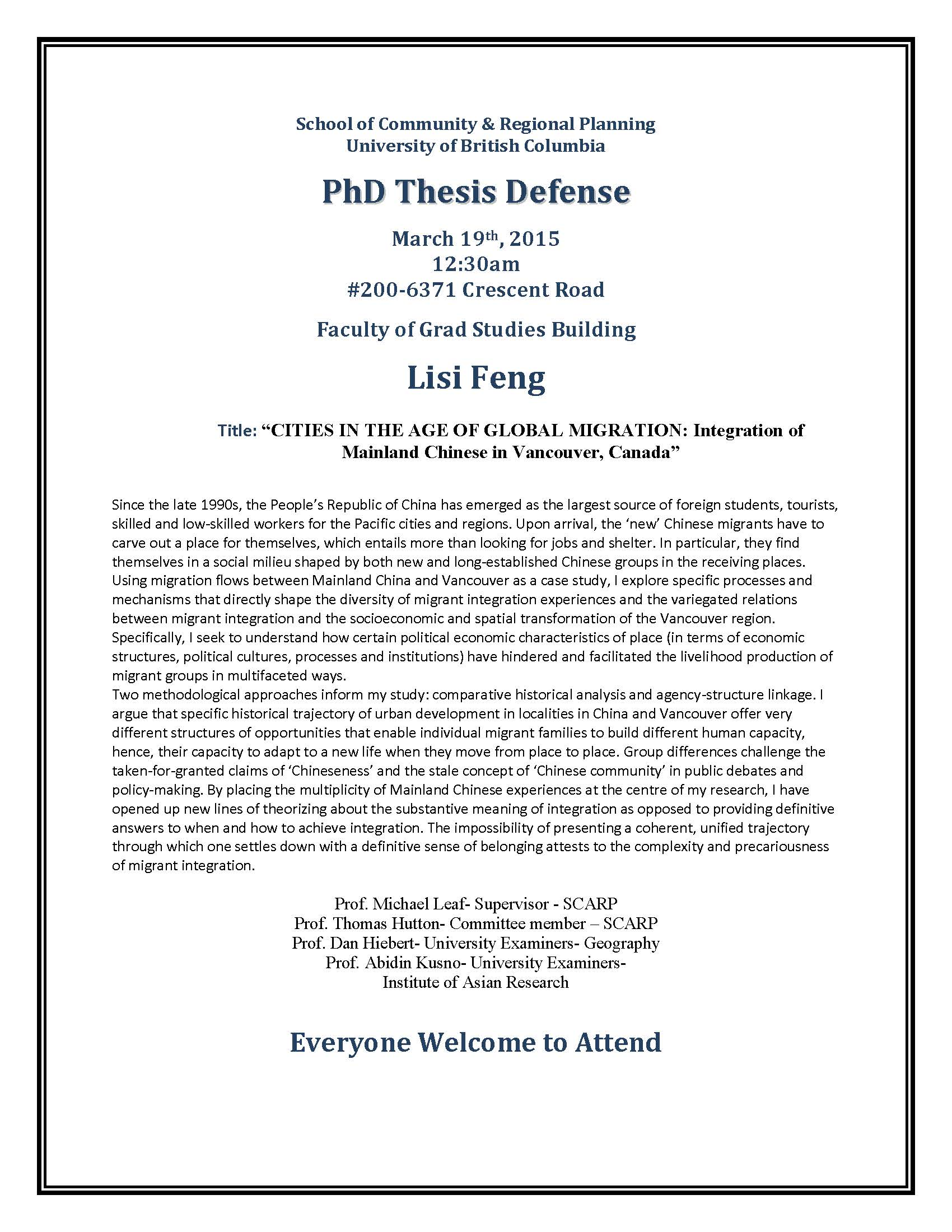 defence doctoral thesis The dissertation proposal defense 2009 can only choose option ii for the dissertation proposal format (phd committee the dissertation proposal and defensedocx.
